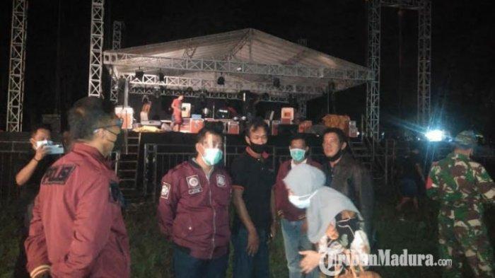 TNI, Polri, dan Satpol PP Bangkalan Bubarkan Kerumunan Massa di Lokasi Pagelaran Orkes Dangdut