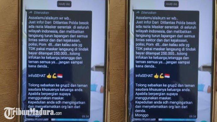Pesan Berantai Denda Tak Pakai Masker Beredar di WhatsApp, Polda Jatim Sebut Pesan Tersebut Hoaks