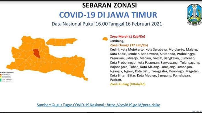UPDATE Peta Covid-19 di Jawa Timur, Zona Merah Tinggal 1 Daerah, Lainnya Berstatus Zona Oranye