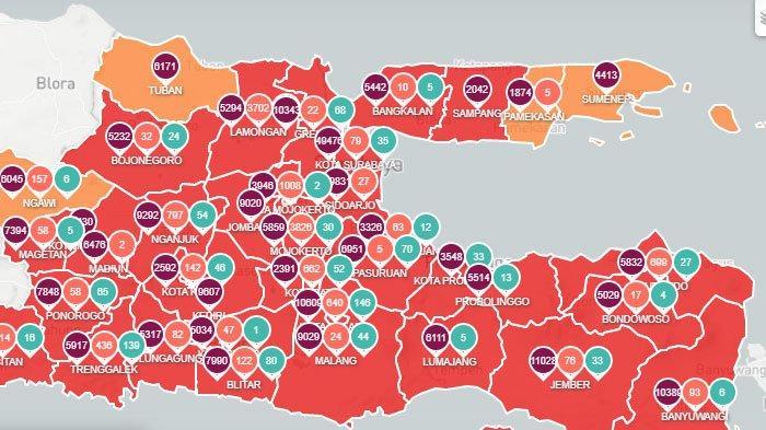 Kabupaten Sampang Gabung Bangkalan Masuk Zona Merah, Ini Data Peta Sebaran Covid-19 di Jawa Timur