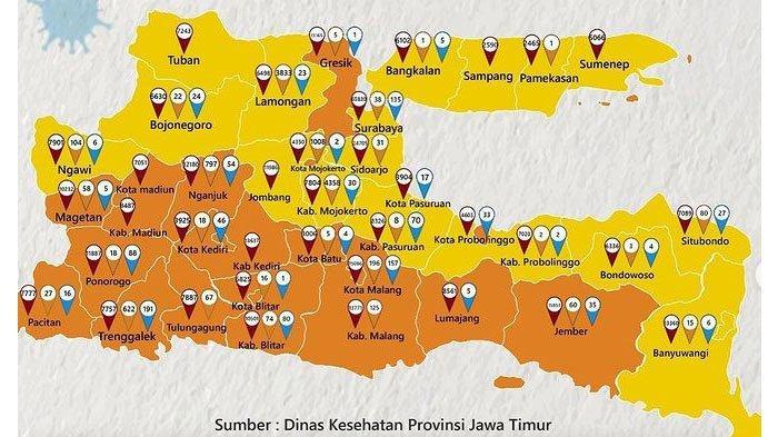 Daftar Zonasi Covid-19 di Jatim, 18 Daerah Masuk Zona Kuning, 20 Sisanya Berada di Zona Oranye