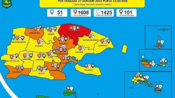 UPDATE CORONA di Sumenep Rabu 27 Januari, Tambah 2 Kasus, Jumlah Pasien Positif Tembus 1.608 Orang