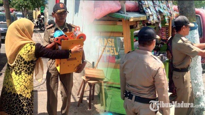 Tiga PKL Sampang Membandel Berjualan di Luar Jadwal yang Ditentukan, Satpol PP Berikan Sanksi