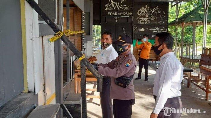 Kafe di Desa Saronggi Sumenep Dipasang Garis Polisi, Ada Alat Isap Sabu, Sebelumnya Digerebek Polisi