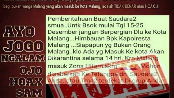 Beredar Pesan Hoaks Larangan ke Kota Malang karena Zona Hitam Covid-19, Ini Penjelasan Polisi