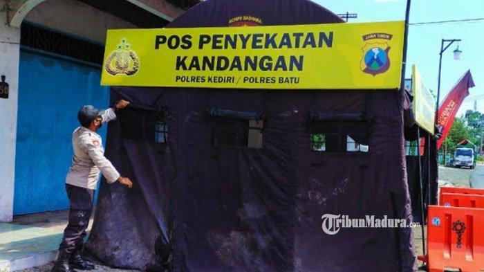 Jelang Masa Larangan Mudik Lebaran 2021, Posko Penyekatan Didirikan di Kandangan Kabupaten Kediri