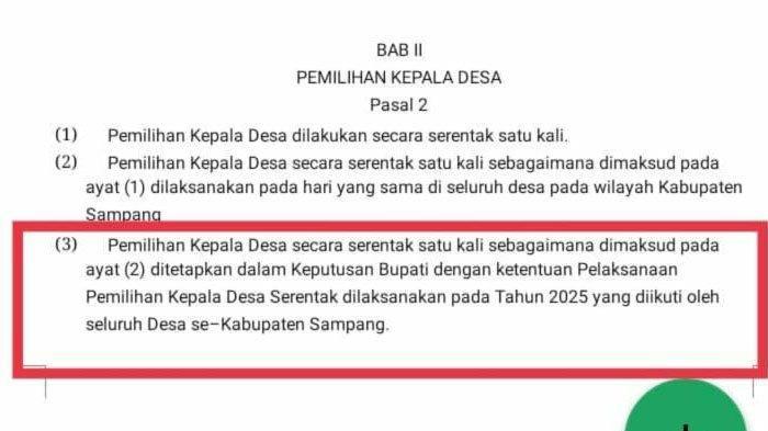 Beredar Luas Potongan Draf Perbub Pilkades Serentak di Kabupaten Sampang Ditunda 2025, Ini Kata DPMD