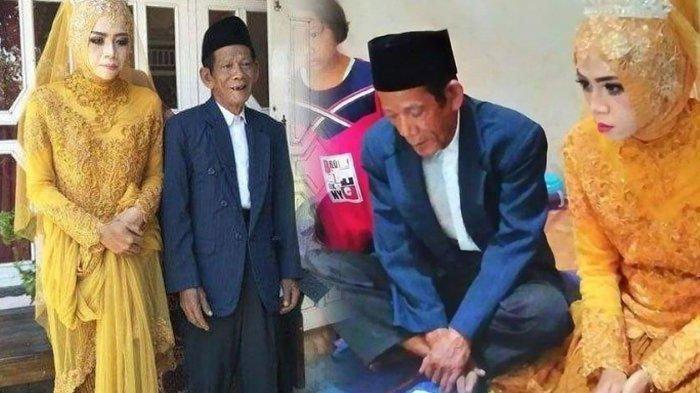 Pernikahan Mbah Dirgo dan Dik Nur di Tegal, Terpaut 56 Tahun, Kakek Beri Mahar Uang Segepok ke Istri