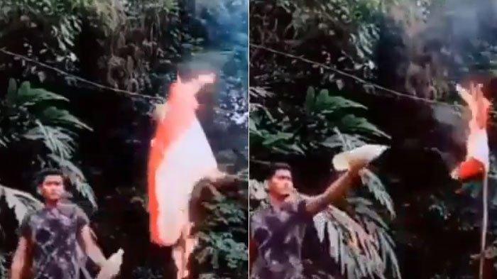 VIRAL Pria di Malaysia Bakar Bendera Merah Putih Pakai Bensin, Polisi Cercep Buru Identitas Pelaku