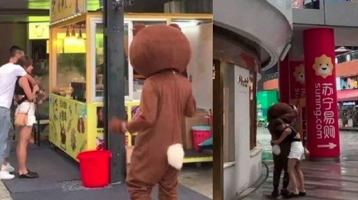 Nyesek, Jalani LDR 2400 KM, Pria Berkostum Beruang ini Justru Dapati Kekasihnya Dipeluk Selingkuhan