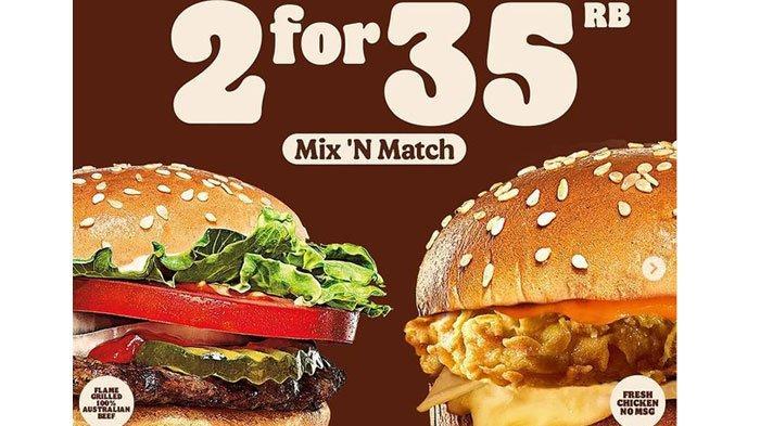 Promo Burger King Hari ini 16 Juni 2021, 2 Burger Cuma Rp 35 Ribu Aja, Ini Menu Pilihan Burgernya