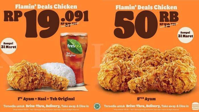 Promo Burger King sampai 31 Maret 2021, Ayam + Nasi + Teh Cuma Rp Rp 19.091, Ada Pilihan Menu Lain