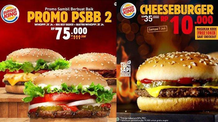 Promo Burger King di Awal Juli 2020, Promo Menarik Burger Cuma Rp 10 Ribu Hingga Promo PSBB
