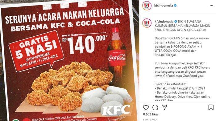 Promo KFC hari ini Minggu 13 Juni 2021