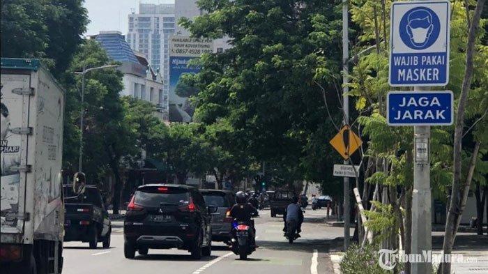 Jalan Protokol Kota Surabaya Dipasang Rambu Wajib Pakai Masker, Begini Imbauan Penting dari Dishub
