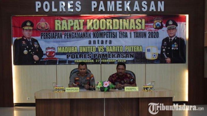 Jelang Laga PerdanaMadura UnitedVs Barito Putera, Polres Pamekasan Gelar Rapat Koordinasi