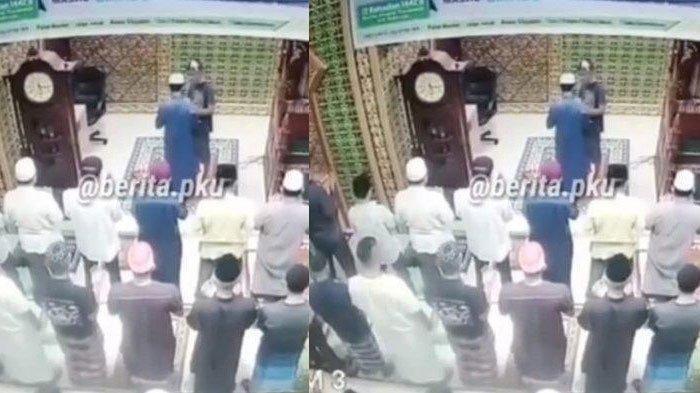 Salat Subuh di Masjid Seketika Buyar Saat Imam Masjid Ditampar Seorang Pria, CCTV Jadi Bukti