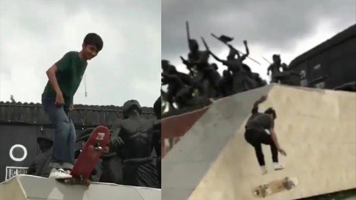 VIRAL Sekelompok Remaja Jadikan Monumen Gerbong Maut Bondowoso Arena Main Skateboard, Bikin Geram
