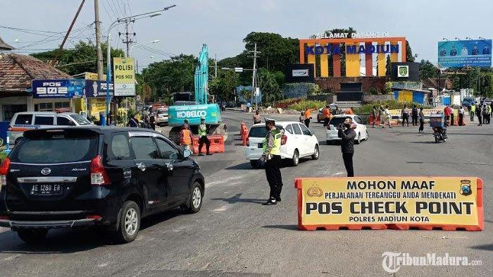 Razia Kendaraan Plat NomorW S DK AG L N yang Menuju Kota Madiun Diminta Putar Balik