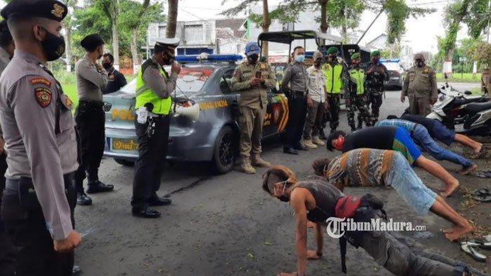 Asyik Nongkrong, Pemuda di Kota Blitar Didatangi Polisi, Dihukum Push Up Akibat Tak Pakai Masker