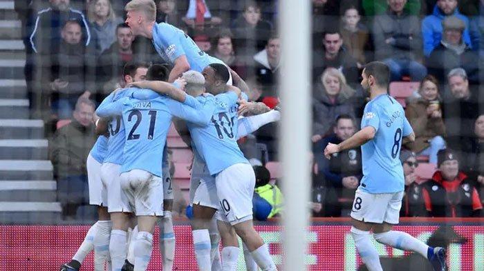 Selebrasi yang dilakukan Manchester City usai menjebol gawang lawan di Liga Inggris