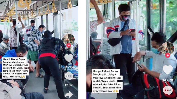 Kakek Berdiri di Bus Transjakarta Diacuhkan Penumpang Lain, Tapi Diberi Kursi Oleh Wanita ini