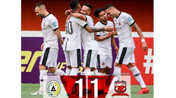 Hasil Babak Pertama Laga PSS Sleman Vs Madura United, Kedua Tim Masih Sama-Sama Kuat Skor 1-1