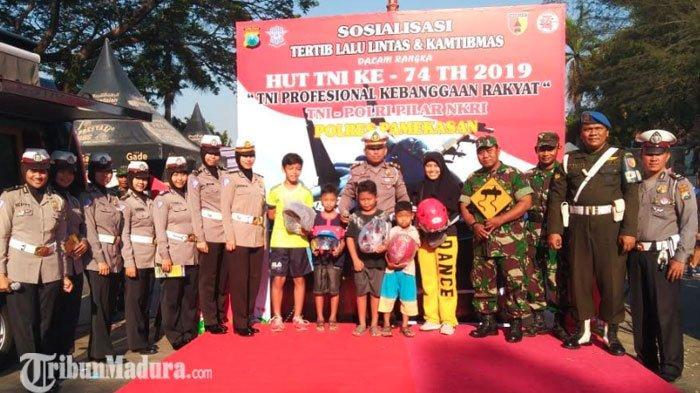 Peringati HUT TNI ke-74,Satlantas dan Kodim 0826 Pamekasan Gelar Sosialisasi Tertib Berlalu Lintas