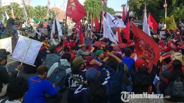 Massa Getol Jatim Bergerak Kembali Suarakan Tolak Omnibus Law, Sempat Ajukan Pinjam Gedung DPRD