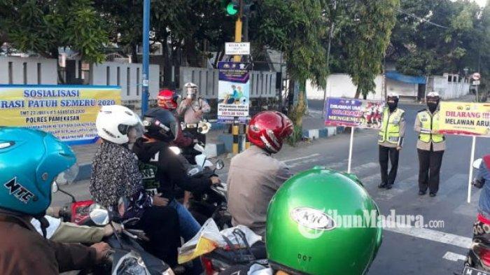 Satlantas Polres Pamekasan Berikan Imbauan pada Pengendara untuk Tekan Angka Pelanggaran Lalu Lintas
