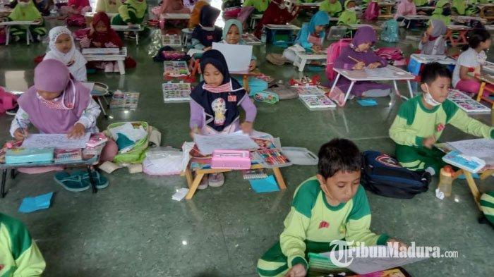 Ratusan Anak Ikuti Lomba Menggambar di Pendopo Ronggosukowati Pamekasan, Terapkan Protokol Kesehatan