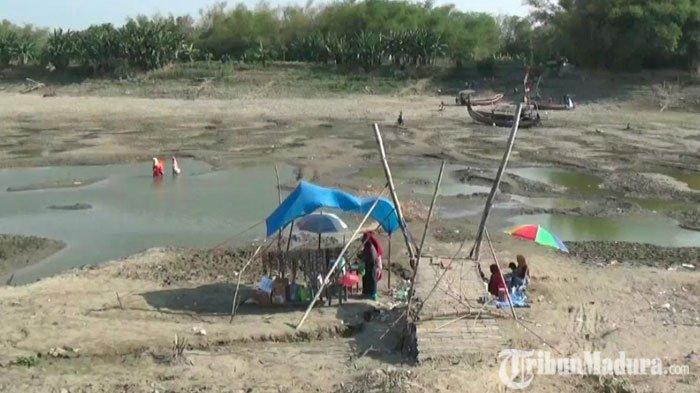 Musim Kemarau Panjang,Sungai Bengawan Solo yang Mengering Disulap Jadi Tempat Wisata DadakanWarga