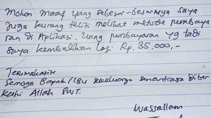 Viral Surat Driver Ojol untuk Pelanggan, Berawal dari Salah Paham, Pelanggan Berikan Apresiasi