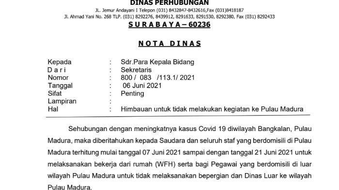 Surat Internal Dishub Jatim, Para Pegawai Diimbau WFH dan Tidak Lakukan Perjalanan Dinas ke Madura