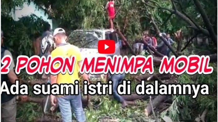VIDEO Suzuki APV Pasangan Suami Istri Tertimpa Pohon di Sidoarjo saat mau Silaturahmi ke Orang Tua