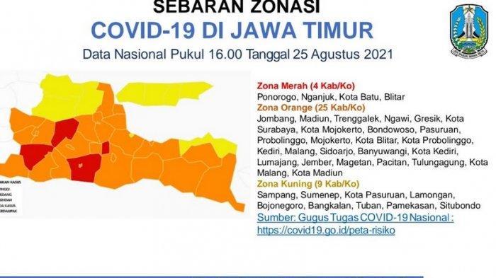 Gubernur Jatim Khofifah Sebut Zona Merah Covid-19 di Jatim Tersisa 4 Daerah, Mana Saja?