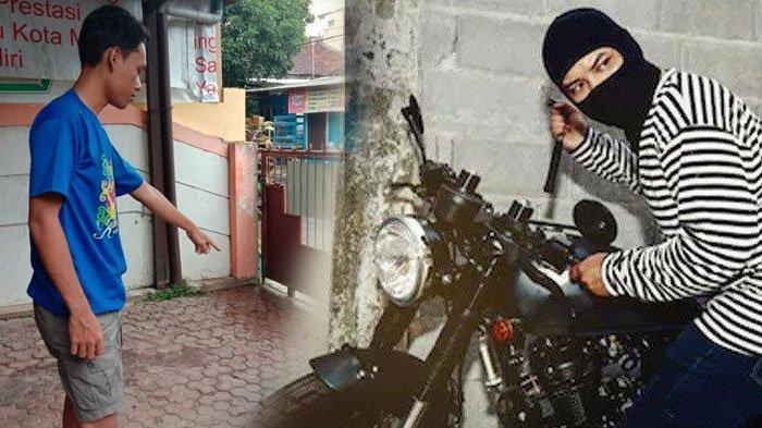 Teman korban saat menunjukkan posisi sepeda motor korban sebelum dibawa kabur oleh pelaku curanmor