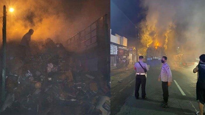 Truk Ekspedisi Tujuan Semarang dan Kalimantan Bermuatan Paket Barang Konsumen Terbakar di Gresik,