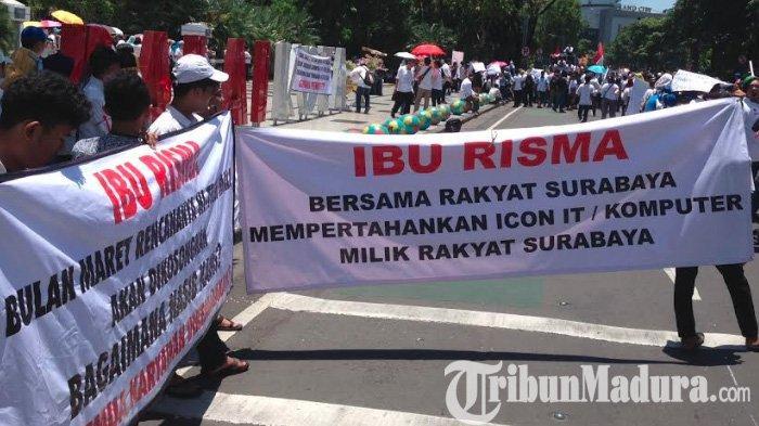 Awas, Demo Ribuan Pedagang Hitech Mall Macetkan Jalur Tengah Kota Surabaya Menuju Balai Kota