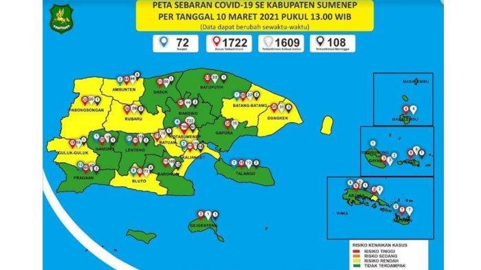 Peta Sebaran Covid-19 Sumenep 10 Maret 2021: 10 Kecamatan Masuk Zona Hijau, Tak Ada Tambahan Kasus