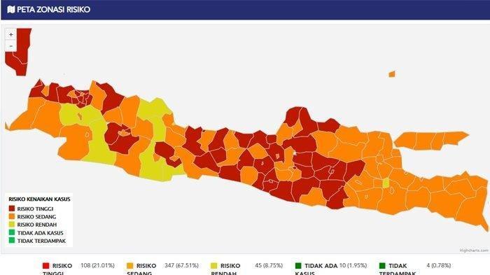 Daftar 52 Zona Merah di Pulau Jawa dan Bali, Ada Madiun, Ponorogo, Trenggalek, Nganjuk dan Ngawi