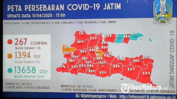Update Covid-19 di Jawa Timur, Sabtu 11 April 2020, Bertambah 11 Kasus Menjadi 267 Kasus