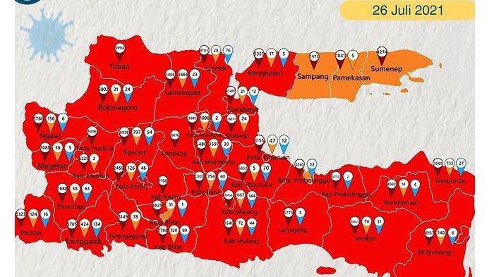 Hampir Seluruh Wilayah Jatim Berstatus Zona Merah, Pulau Madura Sisakan 3 Kabupaten Zona Oranye