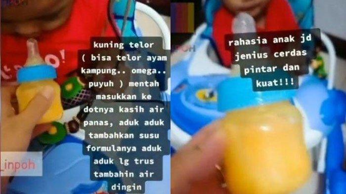 Viral Video Ibu Berikan Susu Formula Dicampur Kuning Telur Mentah, Dokter Spesialis Menanggapi