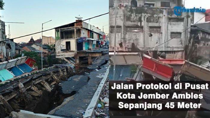 VIDEO Detik-Detik MengerikanJalan Nasional di Jember Ambles dan Patah, Warga Berhamburan ke Jalanan