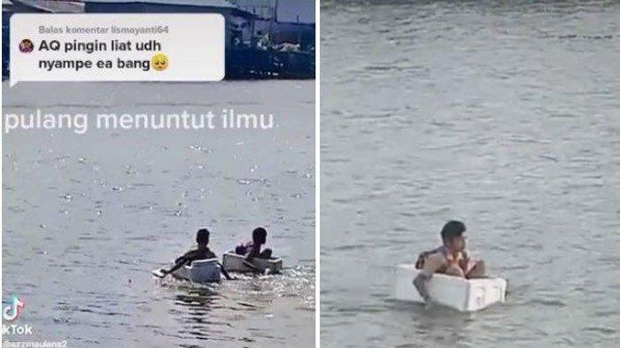 Viral Bocah Berseragam Pramuka Arungi Sungai Menggunakan Kotak Styrofoam, Kepala Desa Ungkap Hal ini