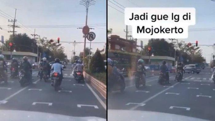 Video Viral Garis Putih Physical Distancing di Lampu Merah Mojokerto Mirip Sirkuit Balapan MotoGP