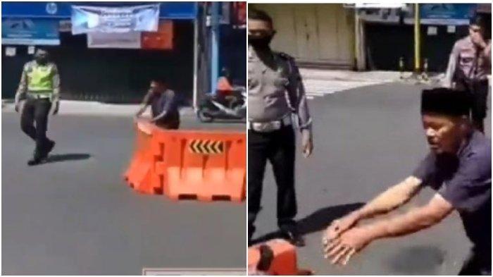 Viral Video Pria Bongkar Pembatas Jalan di Hadapan Polisi, Alasannya Lebaran adalah Hari Kebebasan