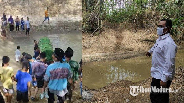 VIDEO Viral Warga Gotong Keranda Mayat Seberangi Sungai ke Makam Kuno, Kelurahan Beri Penjelasan