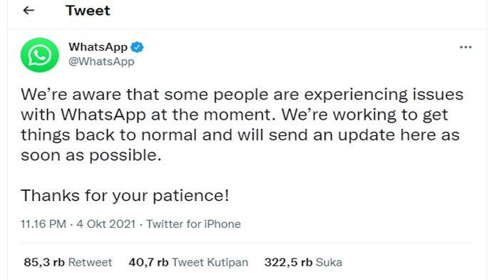 Whatsapp, Instagram dan Facebook Down, Warganet Bermigrasi ke Twitter
